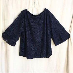 Always Indigo Blue Lace Tunic  3/4 Sleeve Top